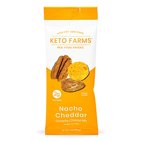 Keto Farms, Crunchy Cheese Mix, Keto Snacks (2g Net Carb) [Nacho Cheddar] 1 Ounce, 6 Count | Keto Friendly Low Carb Snacks - Real Food, Bold Flavor, Satisfies Keto Chips Cravings, Portion Control