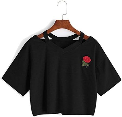 Bestag Embroidery Teen Girls Rose Crop Top Slim Tees Short Sleeve T Shirt Medium Black product image