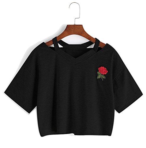 Bestag Embroidery Teen Girls Rose Crop Top Slim Tees Short Sleeve T-Shirt (Medium, Black)