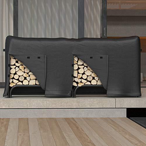 Gibson Living 8 Foot Black Water Resistant Firewood Log Rack Cover