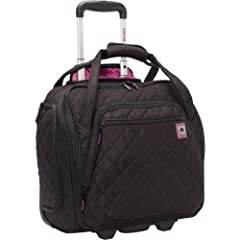Fits under airplane seats and most airlines' overhead compartments; easy access front organizer holds books, passports and tickets Roomy main compartment holds clothing or shoes and interior pockets are great for organizing toiletries or other small ...