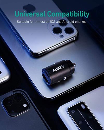 AUKEY Kfz Ladegerät, 30W PD Dual Port Mit PPS&QC 3.0, Kleinste Zigarettenanzünder USB C AutoLadegerät mit Power Delivery für iPhone 12/12 Mini/12 Pro/12 Pro Max, iPad Pro/Air, Samsung