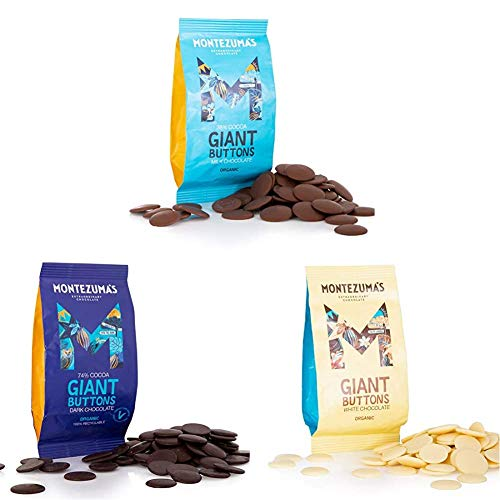 Montezuma's, Organic Buttons Chocolate Package: Milk, Dark, White, 3 x 180g Bags