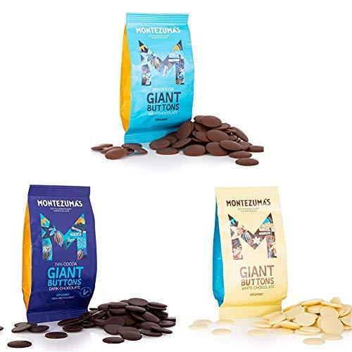 Montezuma's, Organic Buttons Chocolate Package: Milk, Dark, White, 3 x 180g Bags