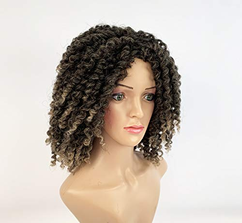 SLEEK Synthetic Shoulder Length Wig Perruque Centre-Part 15 inches Dreadlock wig Kinky Curly Wig JENNY Twist Wig Cosplay Synthetic Wig 226g Adjustable Cap