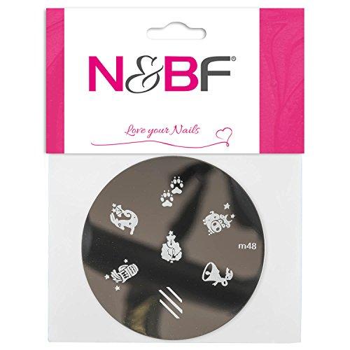 N&BF Nailart Stamping Schablone | Fantasy Mix | Runde Stempel Platte | Nageldesign Muster | French Maniküre | Stempel Equipment | verschiedene Motive für Gelnägel