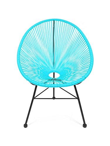 Retro Acapulco Lounge Relax Sessel Chair Rahmen & Füße Pulverbeschichtet Indoor & Outdoor Farbe TÜRKIS