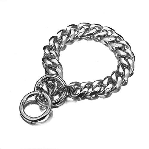 Collarzxy Halsband Halsband Für Hunde Edelstahl Schlupf Metall Hundetraining Kubanische Kettenhalsbänder Für Große Hunde Pitbull Bulldog-17Mm_20Inch_Or_51Cm