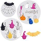 Qpout 3 Pezzi Stampi in Silicone Fondente Halloween, Pipistrello Zucca Cappello Strega Scopa Design Candy Stampi in Silicone Cioccolato Strumento di Cottura, per Halloween Bambini Compleanno