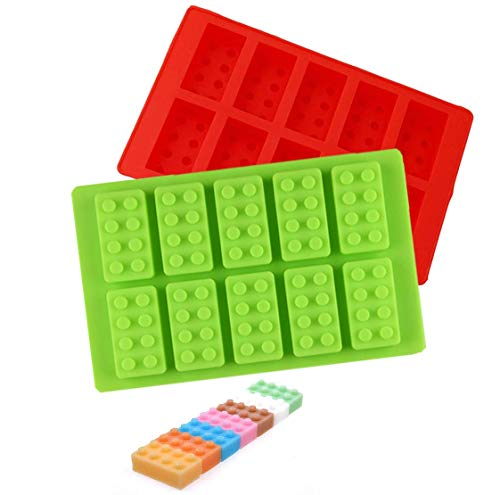 Building Brick Ice Tray or Candy Mold for Lego Lovers! 2 Pack Silicone Ice Cube Molds - Red and Green
