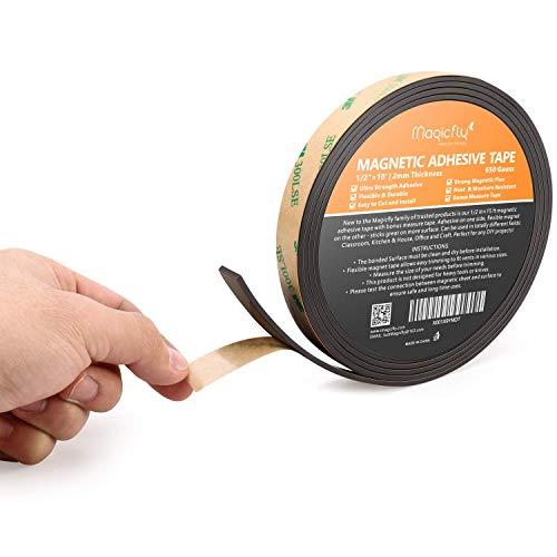Magicflyマグネットテープ(強力マグネットシート自由に切れるタイプ)1.2cm*4.57m粘着剤付DIY/クラフト