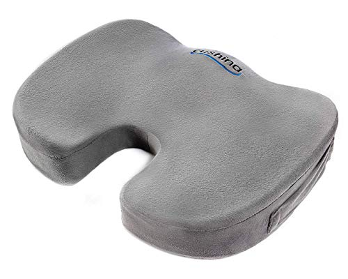 Cushina Coccyx Cushion - Premium Memory Foam Orthopedic Seat Cushion for Sciatica and Back Pain. Sit in Comfort on Home and Office Chairs, Car and Wheelchairs