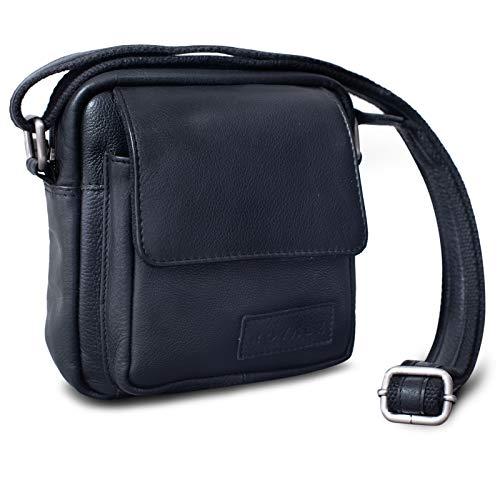 ROYALZ Umhängetasche Klein für Herren Leder Vintage Look Kleine Schultertasche Mini Seitentasche zum Umhängen, Farbe:Schwarz