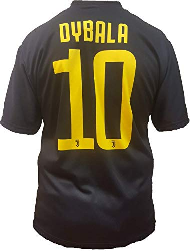 Juventus Third Sweater Black Dybala número 10 réplica del Producto Oficial 2018/19 niño Autorizado de JJFC (tamaños 2 4 6 8 10 12) Adulto (S M L XL) (Size L) (TAMAÑO L)