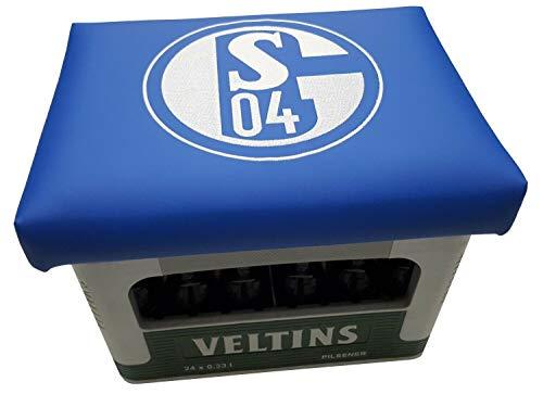 Das ultimative Schalke 04 Logo auf Bierkisten Aufsatz Bierkiste Bierkasten Sitz Bierkastensitz für Stehtisch Sitzkissen Kissen (Schalke Blau)