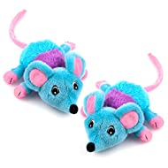 Chiwava 2 Pack 5.9 Inch Removable Catnip Plush Cat Toys Mice with Bell Large Mouse Activity Toy