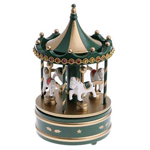 Tubayia 4 caballos Merry-Go-Round Windup caja de música de madera Carousel cumpleaños San Valentín regalo juguete hogar Navidad decoración adorno
