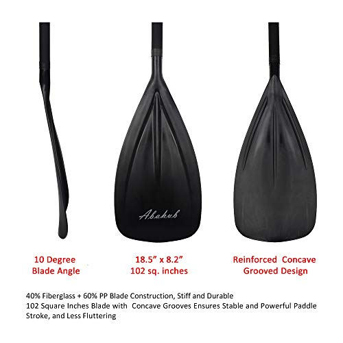 Abahub 3-Piece Adjustable Alloy Stand Up SUP Paddle Aluminum Shaft Black Plastic Blade