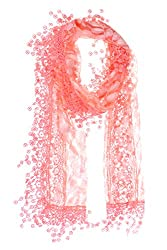 Pink Leafy Lace Scarf With Tassels