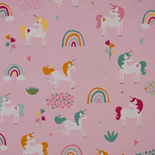 SCHÖNER LEBEN. Dekostoff Canvas Ottoman Einhörner Regenbogen rosa pink 1,40m Breite