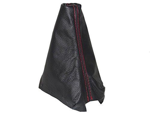 Soufflet de levier Noir cuir véritable Coutures rouges
