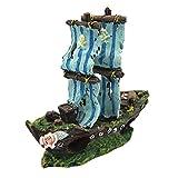 Muamaly - Decoración para Acuario, Paisaje, Barco Pirata, Barco, decoración, Resina, Barco, Ornamentos de camarón