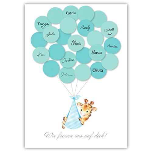 Pandawal Babyparty Deko Junge Gästebuch Alternative Baby Shower Set Giraffe (blau) Gastgeschenk...