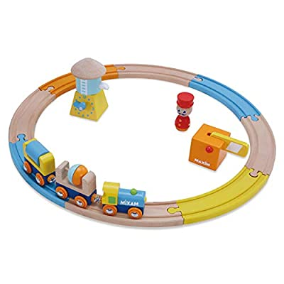 Wooden Railway Train Set for Kids, Toddlers Ages 18mo Plus. Boys & Girls Love 8 Piece Starter Track Pack with Water Tower, Crossing Gate, Conductor, Engine, 2 Cars. Compatible with All Major Brands by maxim enterprise, inc.