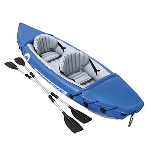 YSYDE Kayak Inflable en tándem para 2 Personas, Kayak de Pesca Compacto y Ligero, Fuerza de amortiguación Fuerte, cómoda y cómoda, para Lagos y ríos Suaves