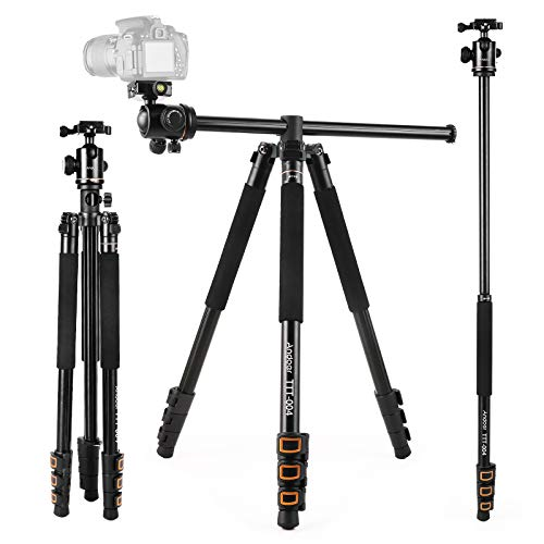 Andoer 200CM / 78inch Kamera Stativ 2 in 1 Aluminium-Wende-Einbeinstativ für DSLR mit 360-Grad-Kugelkopf 8 kg Tragfähigkeit inklusive Tragetasche für Traval Fotografie