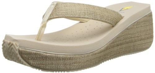 Volatile Women's Bahama Wedge Sandal,Bone,7 B US