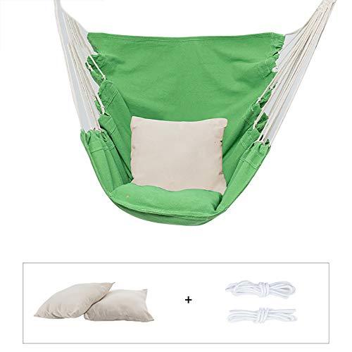 WENCY hangmat, hangstoel van touw, stof van katoen en polyester, ademend, met 2 kussens, ademend voor binnen en buiten, tuin, terras