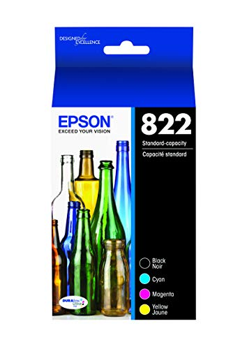 EPSON T822 DURABrite Ultra Ink Standard Capacity Black & Color Cartridge Combo Pack (T822120-BCS) for Select Epson Workforce Pro Printers