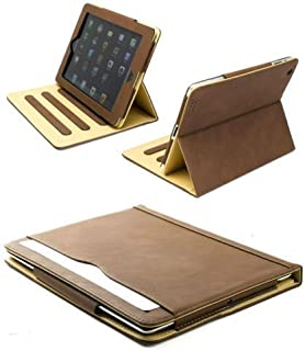 S-Tech Apple iPad 2 3 4 Generation (Large Original iPads) Brown Soft Leather Wallet Smart Cover with Sleep / Wake Feature Flip Case
