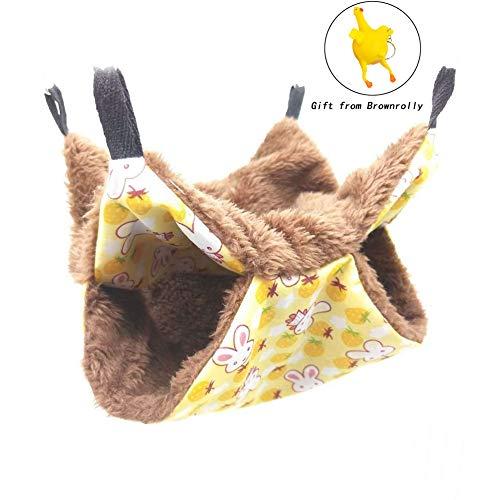 Brownrolly Haustier-Hängematte, warm, doppellagig, Schlafsack für Katzen, Frettchen, Kaninchen, Ratten, L, D