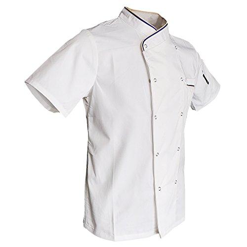 F Fityle Frauen Männer Kochjacke mit Drückknöpfe Bäckerjacke Arbeitsjacke Kochhemd Chefmantel Gastronomie Berufsbekleidung - Weiß, XL