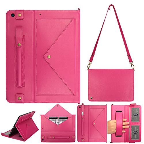 iPad 10.2 Stand Cover (7e Gen), PU Lederen Portemonnee Beschermende Cover w/Card Slot Pocket/Pen Houder/Handband/Gesp Sluiting Schoudertas Book Case voor iPad 7e Generatie 10,2 inch Roze