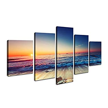 Cao Gen Decor Art-AS40139 5 Panels Framed Wall Art Blue Ocean Sea Canvas Prints Picture Seaview Pictures Painting On Canvas Modern Seascape Home Office