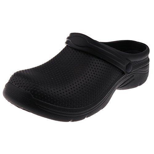 IPOTCH Zueco de Trabajo Antideslizante Unisex EVA Zapatos Sanitario Enfermera Sandalias para Playa Viaje - Negro, UE 41