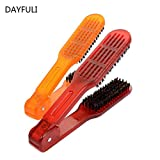 1PC Hair Hairdressing Double Sided Brush Clamp Salon Style Hairdressing Bristle Hair Straightening Comb