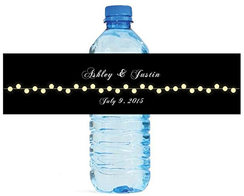 Black background with Glowing Market lights Wedding Water Bottle Labels Engagement Party 100 labels