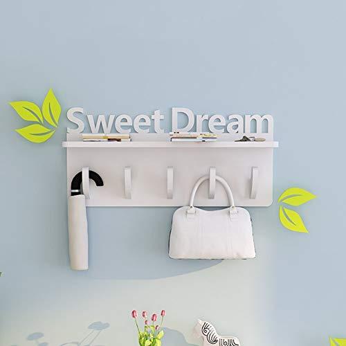 Kapstok Houten Sjaal wandkapstok Met Shelf Living Room 5 Haken, 5 soorten Beschikbare is, 70X34X15cm (Kleur: 4#), Kleur: 5# hangers (Color : B)