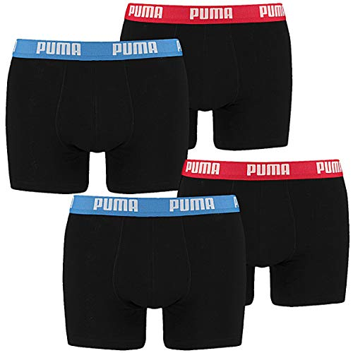 PUMA Herren Basic Boxer Boxershort 4er Pack blau/rot/blau/rot 505 - M