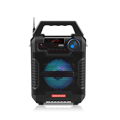 SOCOVEZ Portable Bluetooth Speaker with LED Lights, Speakers Bluetooth Wireless Support Audio Recording Remote Control, Portable Speaker TF Card LCD Display for Home Party Phone Computer PC