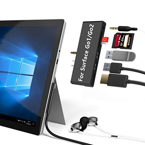 Cateck Microsoft Surface Go Docking Station USB C-Hub mit HDMI-Unterstützung1080P/60 Hz + 2xUSB 3.0 + SD/Micro SD-Kartenleser 2 Slot Kartenlesegerät + 3.5mm Audioausgang Type C Dock Adapter