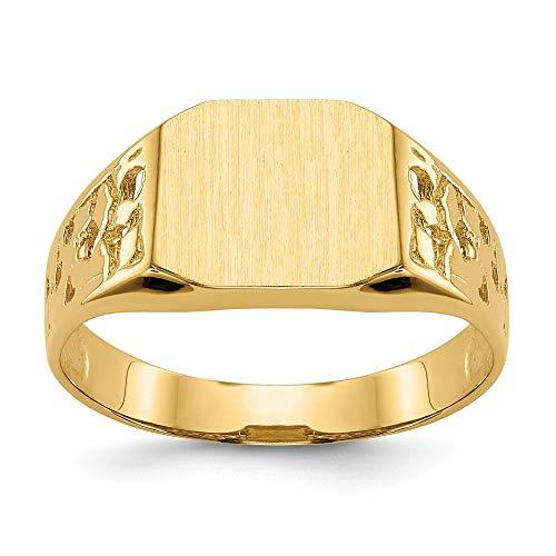 Saris and Things anillo de sello de oro amarillo de 14k de los hombres