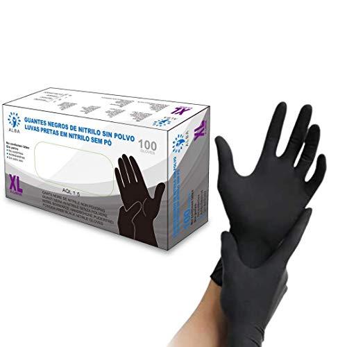 Guantes de nitrilo sin polvo negros talla XL extra resistentes