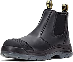 ROCKROOSTER Work Boots for Men, 6 inch Steel Toe, Slip On Safety Oiled Leather Shoes, Static Dissipative, Breathable, Quick Dry(AK227 Black, US 11.5)