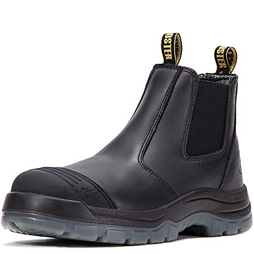 ROCKROOSTER Work Boots for Men, 6 inch Steel Toe, Slip On Safety Oiled Leather Shoes, Static Dissipative, Breathable, Quick Dry(AK227 Black, US 10)