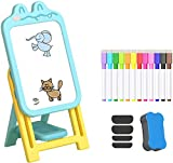 KORIMEFA 2 en 1 Chevalet Réglable pour Enfants avec Tableau Blanc Magnétique, Accessoires artistiques, Plateau de Rangement, Planche à Dessin, Jouets éducatifs pour garçons Filles (Bleu)